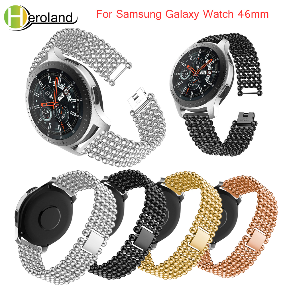 new Bead Style Bracelet Watchband Luxury strap Stainless Steel Replacement For Samsung Galaxy Watch 46mm band smart wirst blacknew Bead Style Bracelet Watchband Luxury strap Stainless Steel Replacement For Samsung Galaxy Watch 46mm band smart wirst black