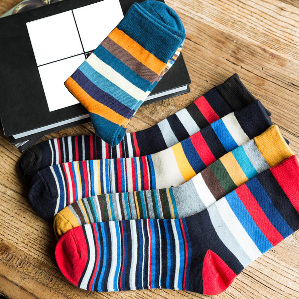 Men's Funny Happy Socks Fine Paragraph Diamond Pattern Argyle Autumn Color Striped So Socks In Tube Casual Cotton Socks Z0225