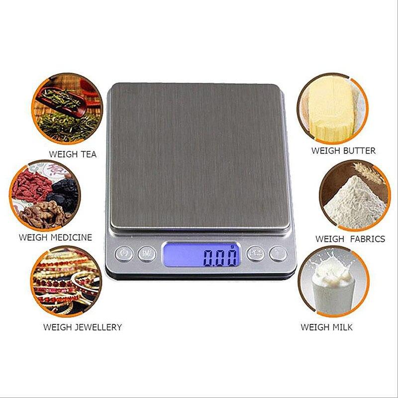 500g/3000g x 0,1g LCD Digital Gramm Taschenwaage Elektronische Schmuck Gewicht Waagen küche Werkzeug 10,5 cm x 12,5 cm x 1,5 cm E2S