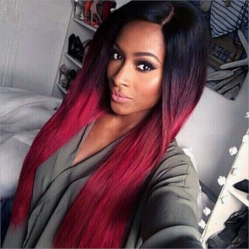 FESHFEN-Hot-Sell-European-Long-Straight-Middle-Parting-Ombre-Black-Burg-Red-Hair-Wigs-Capless-None