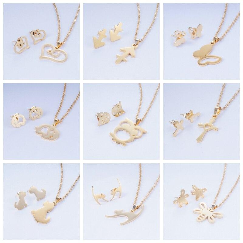 Yunkingdom Necklace Earrings Jewelry-Sets Stainless-Steel Cross-Heart 15 Animal Women