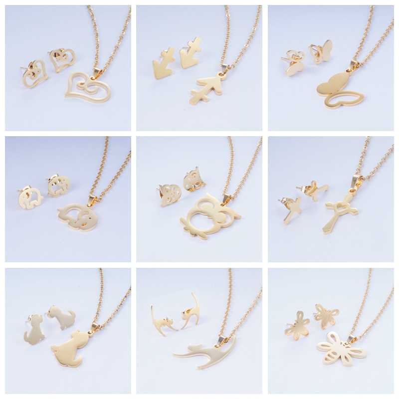 Yunkingdom 15 different Style Cross Heart Animal Stainless Steel Jewelry Sets Necklace Earrings for Women New Wedding Jewelry