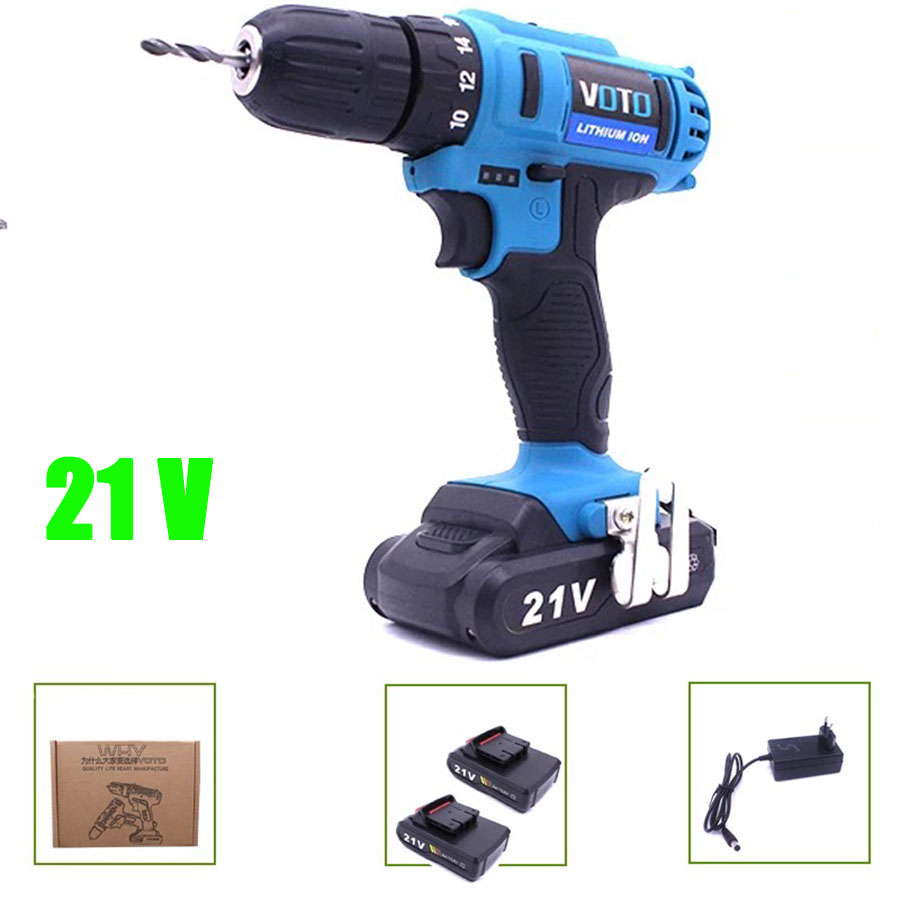VOTO 2*Battery Rechargeable Cordless Drill Electric Screwdriver Set Lithium Power Tools Screw Gun Driver 21V Blue 2018