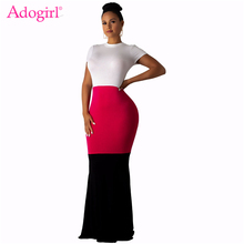 Adogirl Contrast Color Patchwork Bodycon Maxi Dress Elegant Women Short Sleeve Sheath Long Evening Party Dresses Fashion Vestido