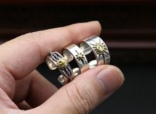 Korean Vintage Japan Wind 925 Sterling Silver Golden Copper Inlay Ring bague anillos mujer anel aneis anelli bisuteria feminino цена