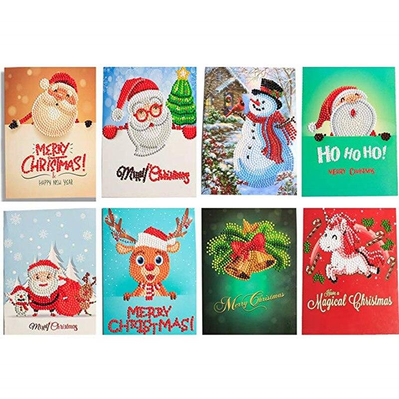 40pcs DIY 5D Diamond Painting Christmas Cards Merry ...
