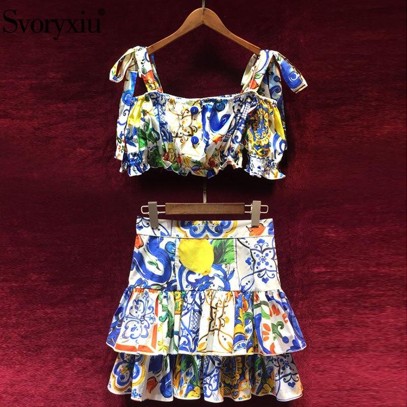 Svoryxiu Runway Summer Cotton Two Piece Set Women s Bow Sling Short Tops Ruffles Skirts Painted