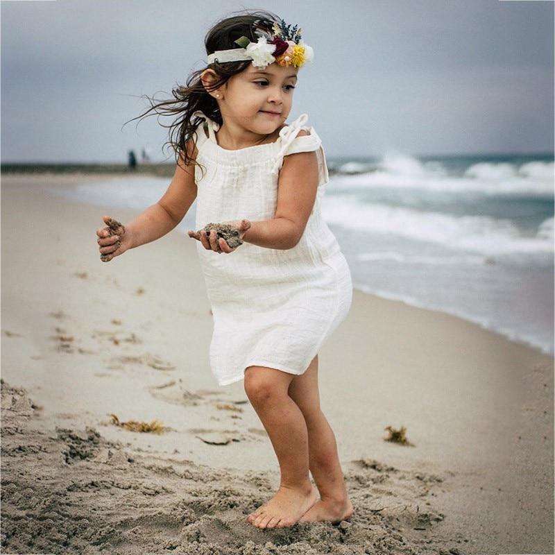 Newest Style Summer Baby Kid Cotton Sling Princess Girls Dress Newborn Infant Sundress Clothes Solid White Beach Vestidos A2