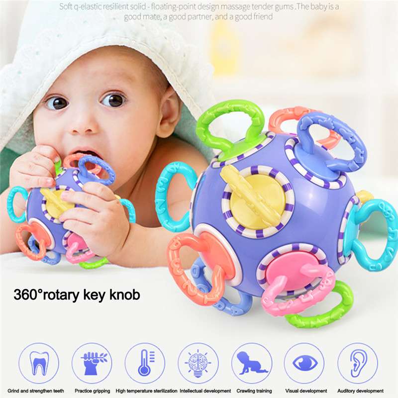 Baby Teether Gripping Ball Rattles Childrens Teething Toys Baby Kids Molars Toys Gutta Rattles