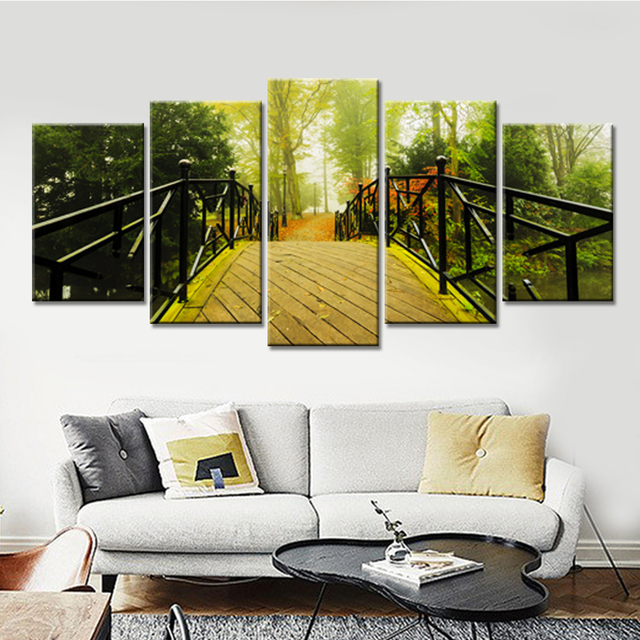 Modern HD Printed Modular Pictures Frame Canvas 5 Panel Green Trees
