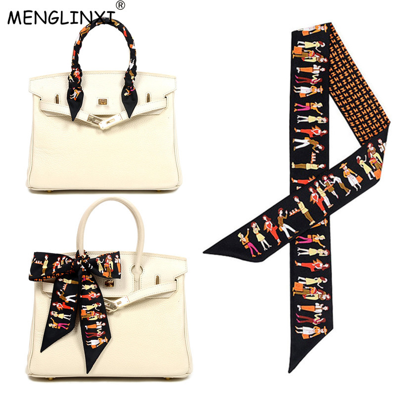 MENGLINXI Bag Ribbons 2020 Brand Letter Small Silk Scarf For Women Paris Holiday Print Head Scarf Handle Bag Ribbon Long Scarves