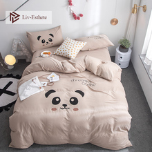Liv-Esthete Fashion Hot Sale Funny Panda Cartoon Bedding Set Soft Duvet Cover Flat Sheet Pillowcase Double Queen King Bed Linen