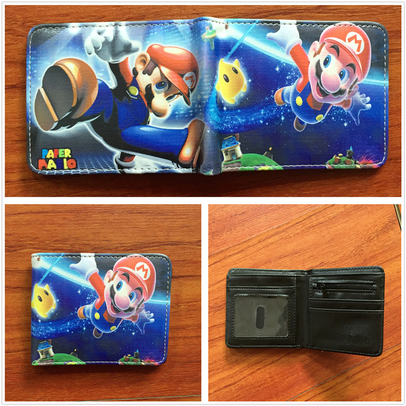 Новое прибытие Super Mario World кожаный бумажник сложенный кошелек мультфильм творческий короткие Женские Кошельки W612