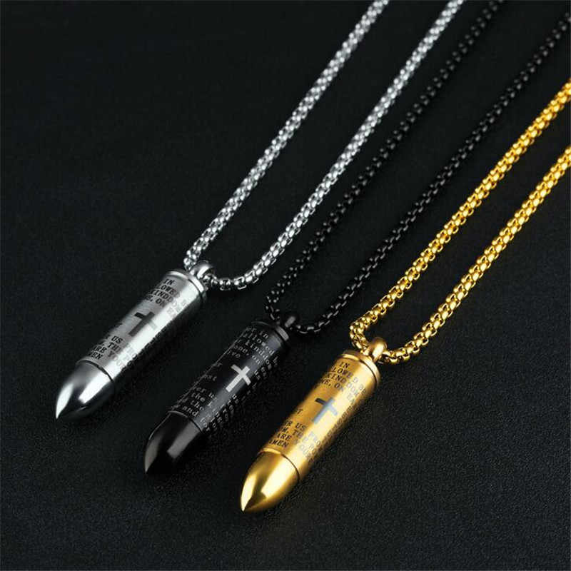 Bullet Pendant for Men Engraved Cross Lord Bible Prayer Necklace Stainless Steel Male Jewelry Cremation Ashes Urn Bijoux