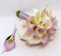 Hecho a mano de la flor artificial flor de la boda de LA PU calla ramo de novia púrpura sistema