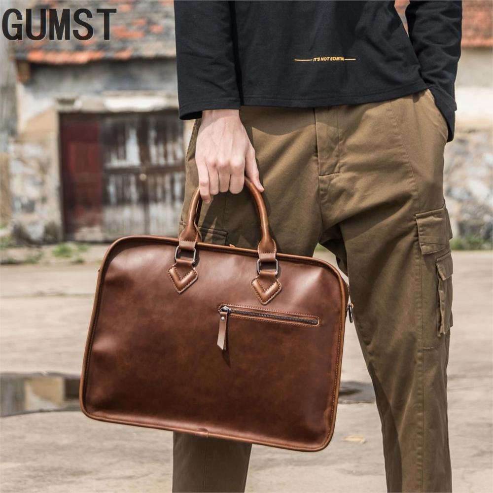 GUMST Crazy Horse PU Leather Men Briefcase Vintage 14 Inch Big Business Laptop Handbag Fashion Brown Messenger Shoulder Bag Man