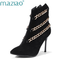 MAZIAO Women High Heel Ankle Boots chain Creative design Women Boots Winter Short Boots Pointed Toe Lady Shoes Big Small Size