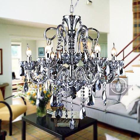 modern Suspension Luminaire Fashion  Crystal Pendant Light Living Room Smoky Grey Candle Lamp|suspension luminaire|fashion lamp|lamp fashion - title=