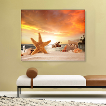 Laeacco Canvas Painting Calligraphy Beach Sunshine Sea Star Poster Print Vintage Wall Artwork for Home Decoration Wedding Decor