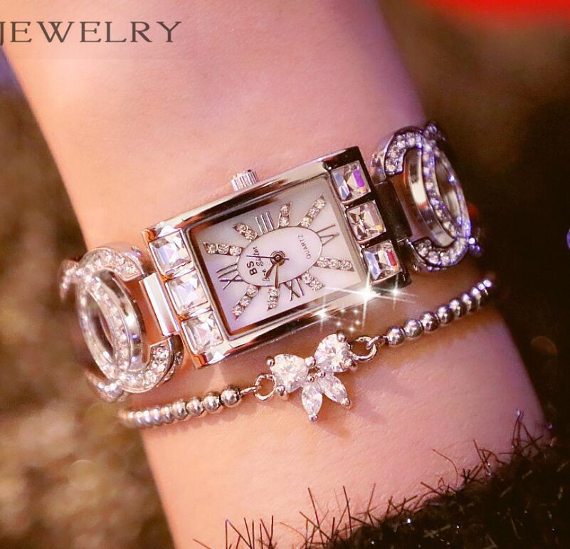 цена на 2018 New Women Rhinestone Watches Lady Dress Luxury brand Bracelet Wristwatch ladies Crystal Quartz Clocks gift Montre Femme
