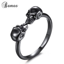 Bamos Hip-Hop Male Female Black Skull Ring Fashion Gold Filled Jewelry Vintage Wedding Rings For Men And Women(China)