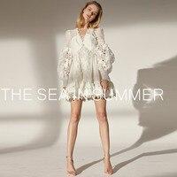 2019 new summer linen dress runway women's elegang Hollow long sleeve dresss mini Bohemia Holiday Vestido robe femme Ladies