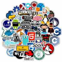 50pcs/bag Cool Programming Stickers Logo Internet Software Sticker Funny Gift for Geeks Hackers Developers to DIY Laptop Phone