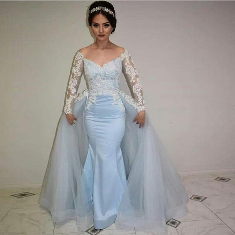 Prom Dress With Detachable Train: Amazing Mermaid Blue Prom Dresses 2019 Long Sleeve V Neck