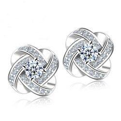 Boucles d'oreilles cristal 925 en argent Sterling noeud fleur boucles d'oreilles pour les femmes Brincos Bijoux Bijoux de mariage