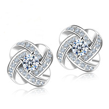 Jemmin Crystal Earrings 925 Sterling Silver Knot Flower Stud Earrings for Women Brincos Bijoux Wedding Jewelry(China)
