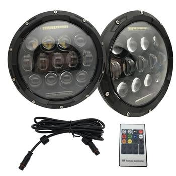 "Yait 7"" Inch RGB 75W LED Headlights Remote Control with DRL Hi/lo Beam Headlight for Wrangler Sahara Sport Headlamp"