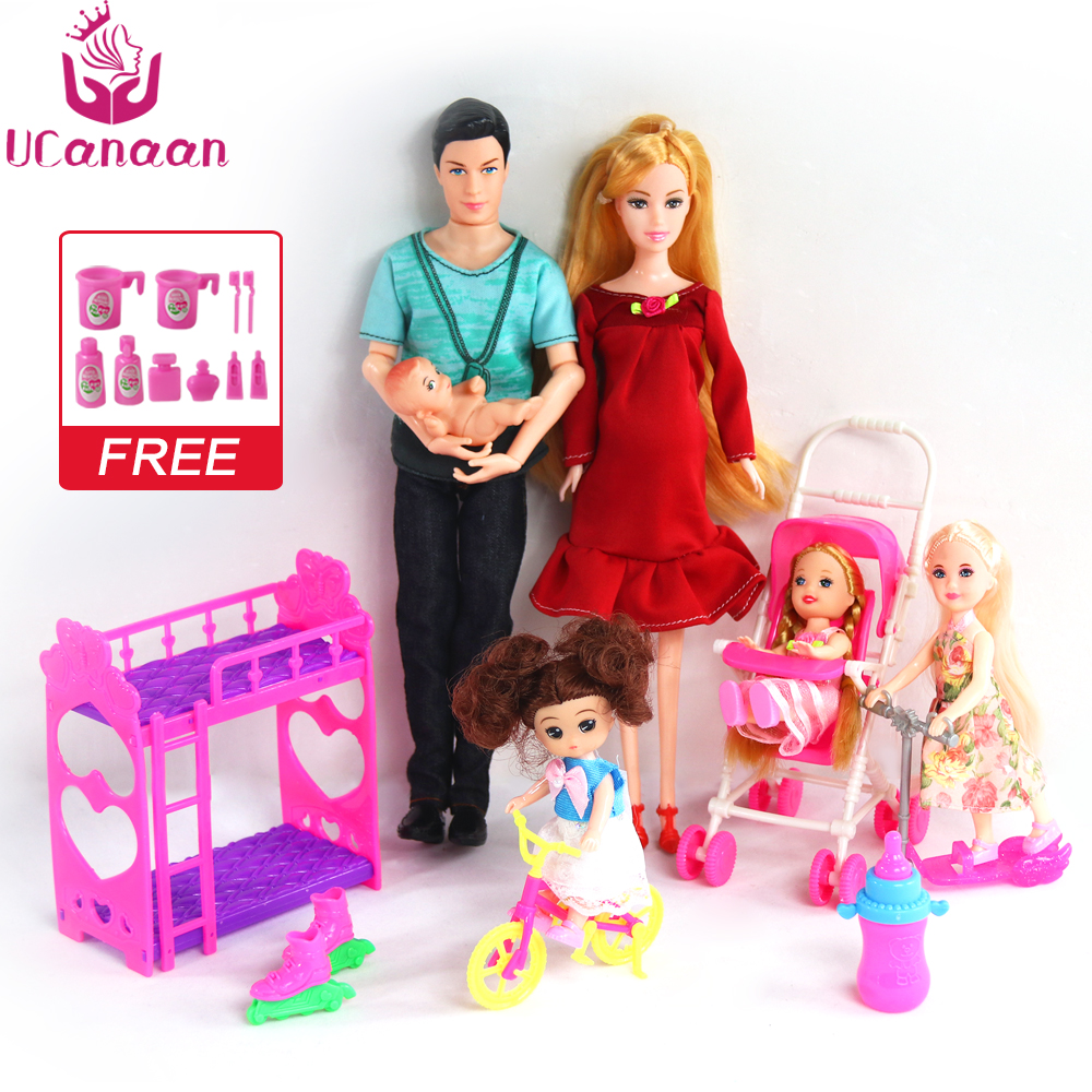 UCanaan 6 People Family Doll Suits Mom/ Dad/ Son Baby/ Kelly/Carriage Girls Toys Fashion Pregnant Doll Kid Toys