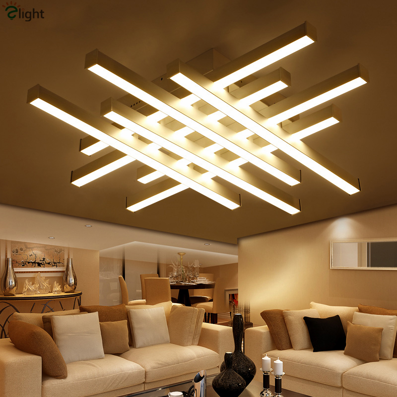 Modern Geometric Metal Dimmable Led Ceiling Lights Lustre