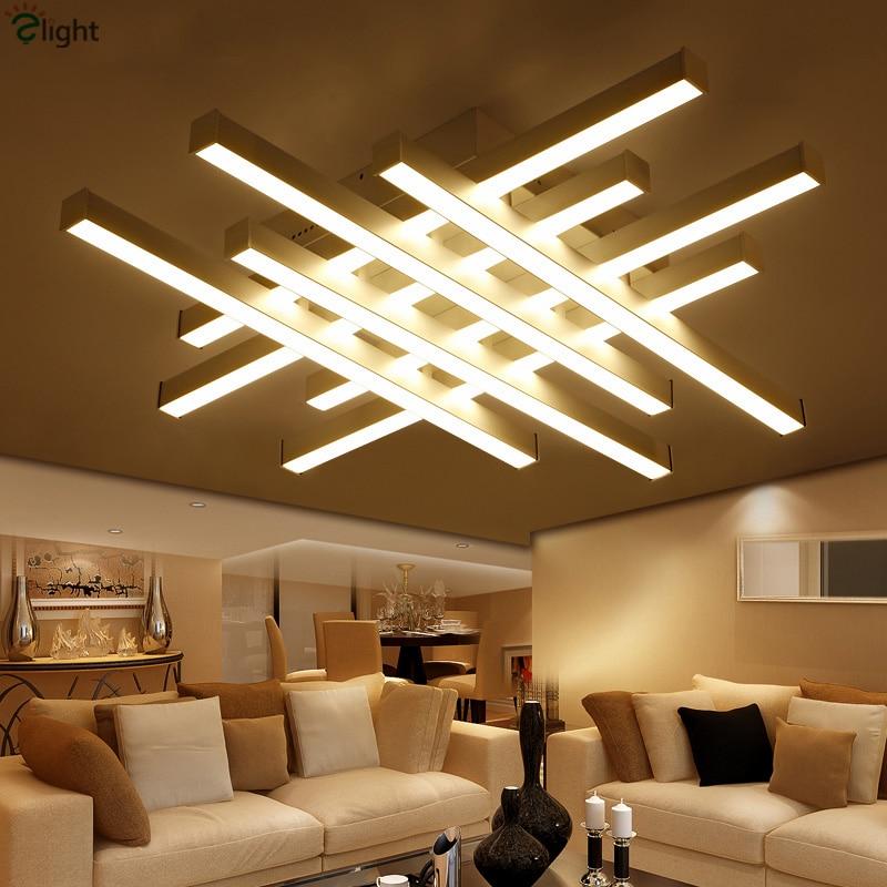 40 Bright Living Room Lighting Ideas: Nordic Simple Geometric Metal Led Ceiling Lights Lustre