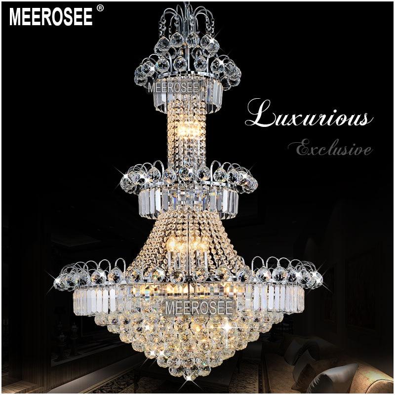 Duży hotelowy srebrny kryształowy żyrandol. Oprawa oświetleniowa - Oświetlenie wewnętrzne - Zdjęcie 1