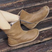 Women Winter Boots Ladies Autumn Shoes Hand Made Authentic Leather Ankle Boots For Women 2017 Female