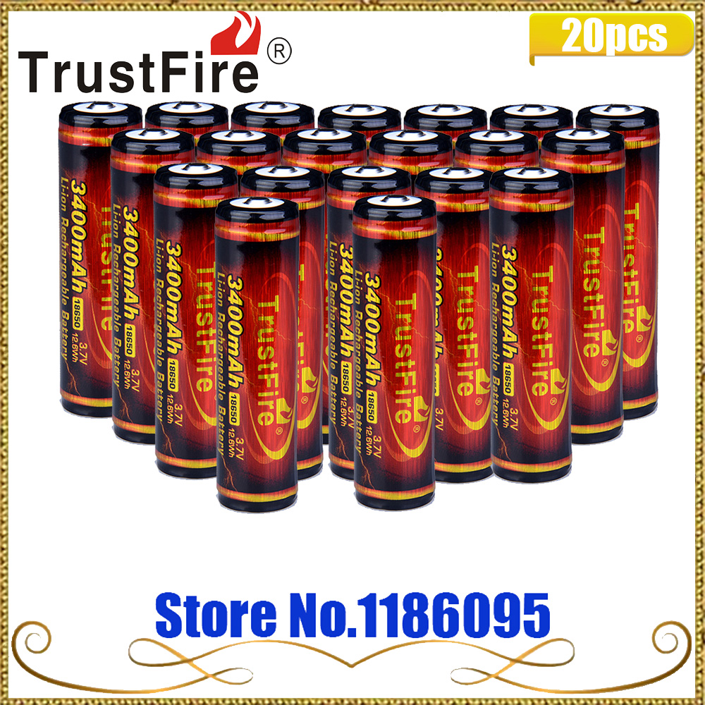 20PCS TrustFire 3.7V 3400mAh High Capacity 18650 Li-ion Rechargeable Battery with Protected PCB for LED Flashlights Headlamps