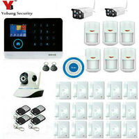 YobangSecurity 3G WCDMA WIFI Home Burglar LCD Touch Screen Alarm Panel Home Security Alarm System Outdoor Indoor IP Camera APP
