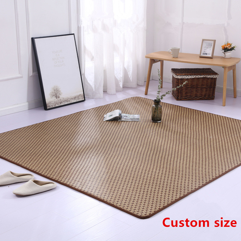 Summer Japanese Carpet Thicken Tatami Rattan Seats Carpets Foldable Living Room Bedroom Floor Mat/Rugs Dormitory Student Bed Rug