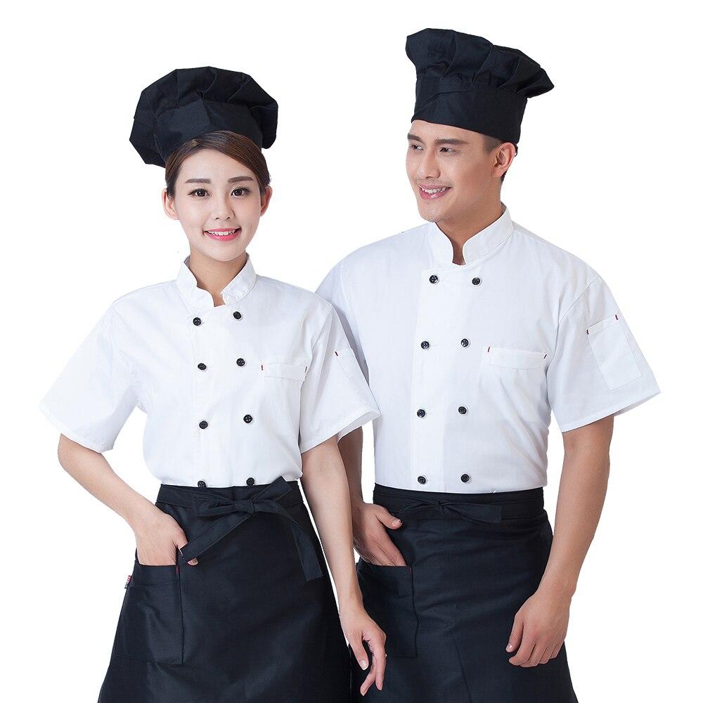 2017 à manches courtes Chef vêtements vêtements pour hommes uniformes hôtel Restaurant cuisine cuisinier vestes travail Services manteau