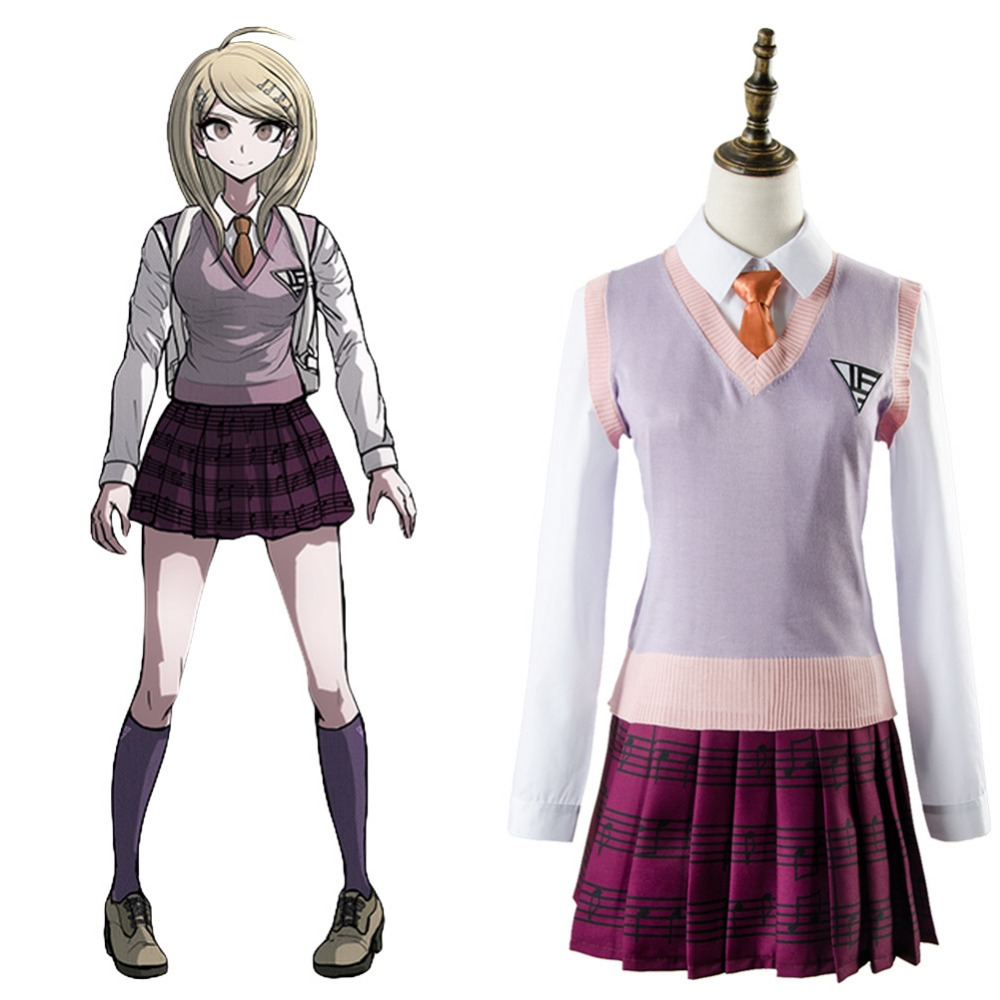 Japanese Anime Danganronpa 3 Cosplay Costume Akamatsu kaede Outfit Dress Cosplay Costume Adult Halloween Carnival anime cosplay lace lolita flower print halloween fancy dress gallus japanese kimono costume