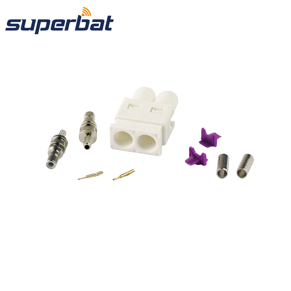 Superbat Car Radio Antenna Connector Fakra Double B White/9001 Plug Male Straight Crimp For RG316 RG174 AM FM DAB+ LMR100 Cable