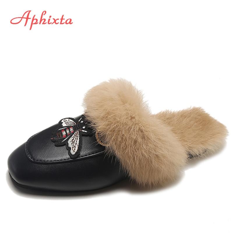 Aphixta Big Size 44 Real Fur Slippers Shoes Woman 2019 Mules Women's Tassel Slides Winter Warm Women Shoes Fashion Bee Slippers