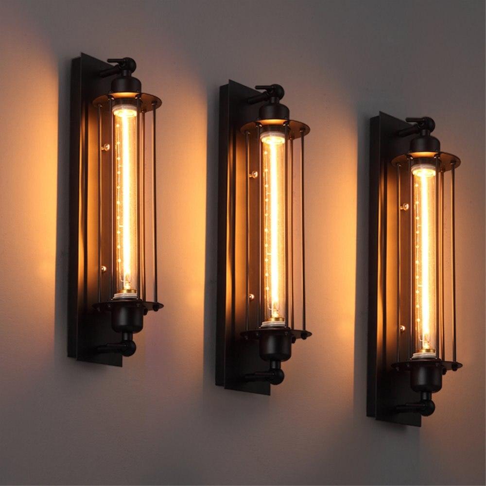 Endüstriyel duvar lambası Vintage demir duvar lambası E27 Edison/LED ampul kapalı Cellar Bar Cafe bodrum koridor duvara monte aplik