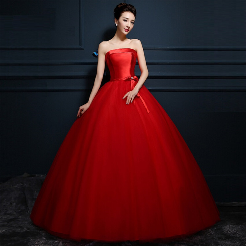 Vintage high quality big princess ball gown red wedding for Big red wedding dresses