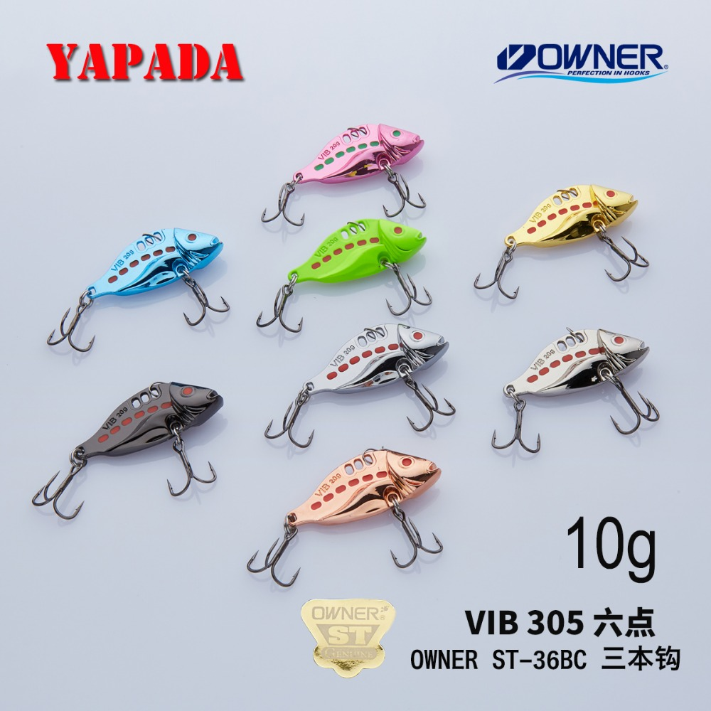 YAPADA VIB 305 Six Point 10g / 15g OWNER Treble Hook 40-46mm Feather Multicolor თუთიის დისკები Metal VIB Fishing Lures Bass