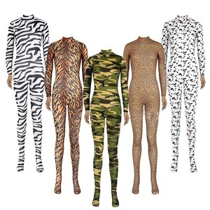 Animal Tiger Costume Zebra Leopard Camouflage Lycra Zentai Suit Cosplay Carnival Halloween Adult Bodysuit Full Body Party Kids(China)