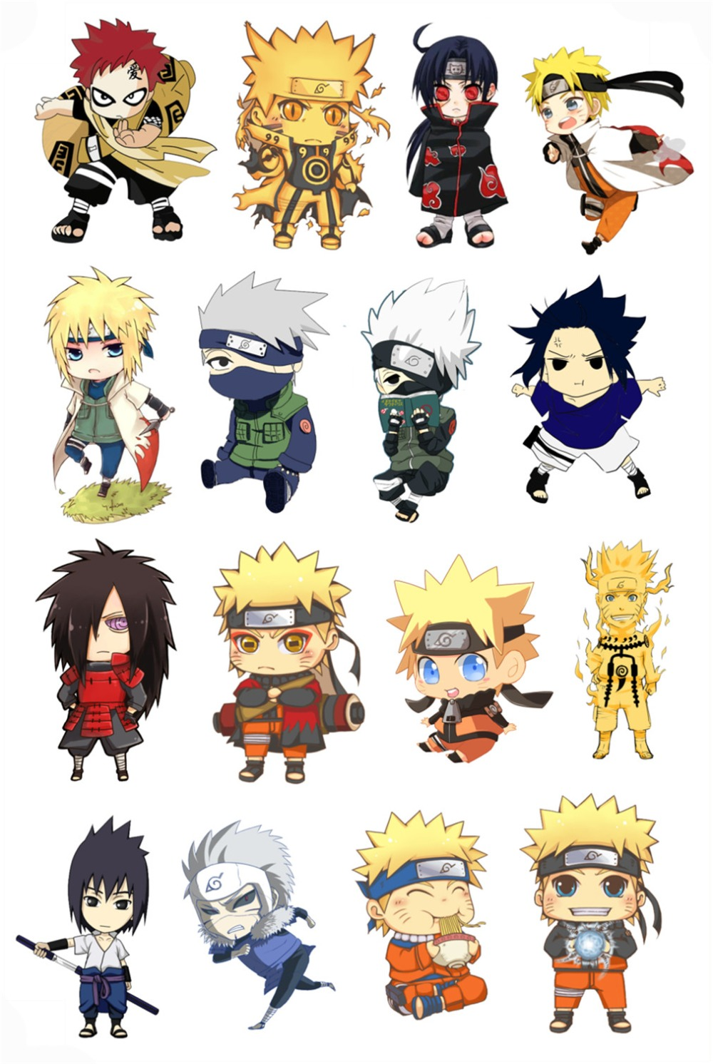 New naruto stickers wall stickers suitcase fridge laptop sticker waterproof anime decal 5 sheets set in wall stickers from home garden on aliexpress com