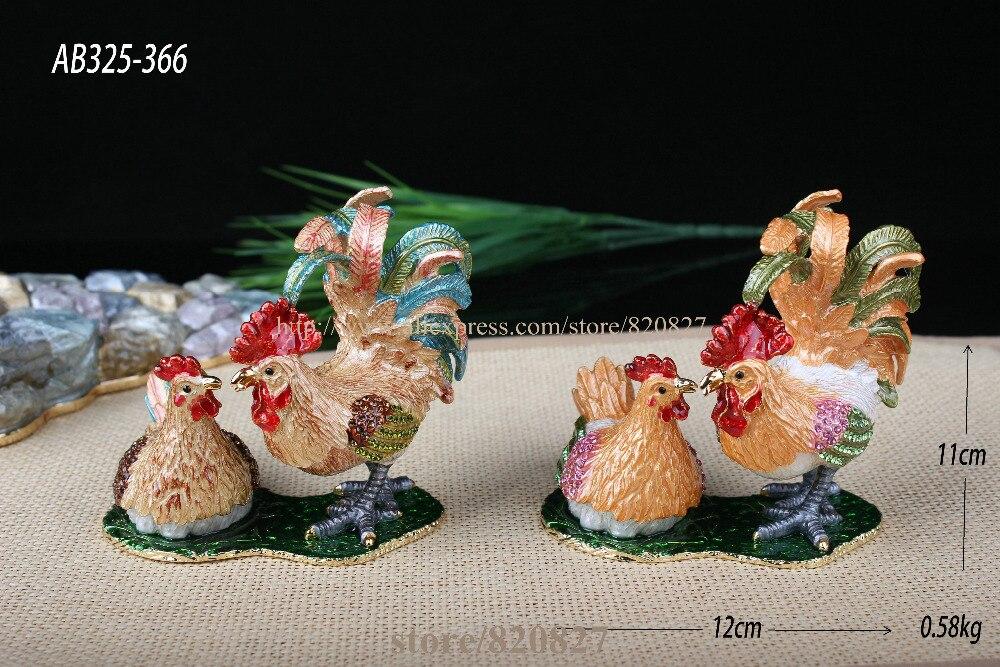 Boîte à bibelots coq & poulet décoré poulet poussin artisanat étain émail cristal poulet bibelot boîte pour bijoux anneau tenant - 2
