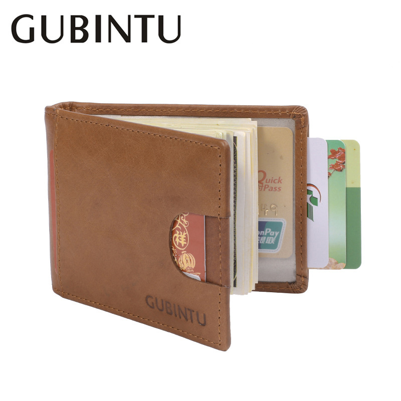 GUBINTU Minimalist Men Money Clip Leather Wallets and Purses for Men Slim Mental Clamps Carteira Masculina-BID207 PM49